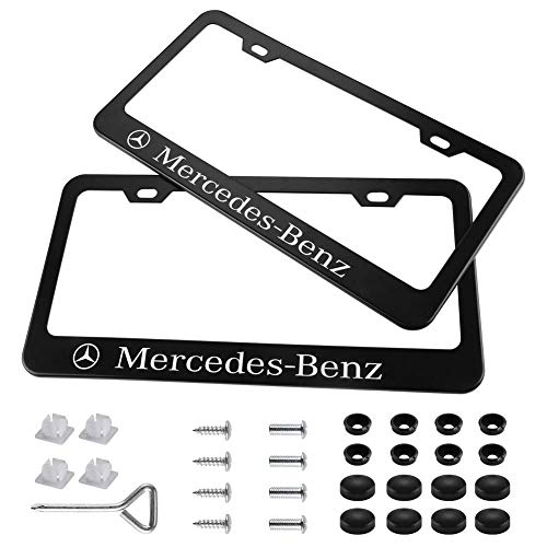 Auto sport 2pcs License Plate Frames with Screw Caps Set Stainless Steel Frame Applicable to US Standard Cars License Plate Fit Benz Accessory