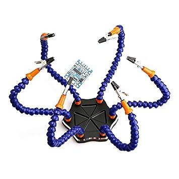 Soldador Extraño Tercera Mano Seis Auxiliar de Estación de Soldadura de Brazo con Ventilador USB Kit de Repuestos para RC Drone QAV250: Amazon.es: ...