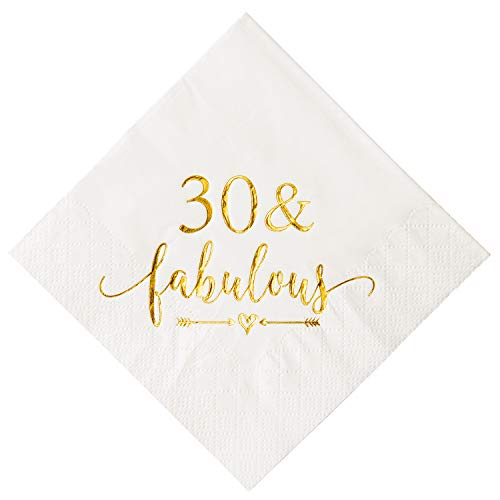 Crisky 30 and Fabulous Cocktail Napkins Gold for