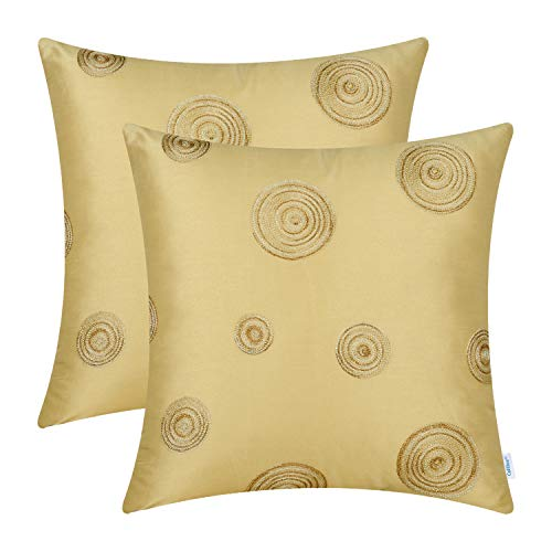 CaliTime Pack of 2 Cushion Covers Throw Pillow Cases Shells Sofa Couch Home Decoration 18 X 18 inches Modern Random Circles Rings Geometric Chain Embroidered Gold - Embroidered Ring Pillow