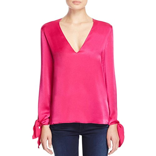 Elizabeth and James Womens Astrid Satin Neck Tie Blouse Pink L by Elizabeth and James