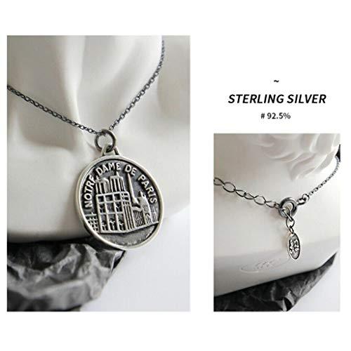 Haluoo 925 Sterling Silver Necklace – 2019 Novelty Retro Notre Dame de Paris Coin Pendant Necklace 18″ Long Chain Choker Necklaces Jewelry Gift for Women Men Girls Boys (Silver)