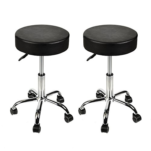 Home Office Adjustable Rolling Medical Massage Swivel Stool Chair Tattoo Facial Massage Salon Stools, Black, Set Of 2 by Elecwish