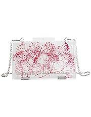 Transparent Women Clutch Bag Chain Flower Handbag Clear Purse Crossbody Bag Wedding Party bag