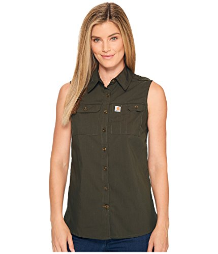 (Carhartt Women's Force Ridgefield Sleeveless Shirt, Olive, Small )