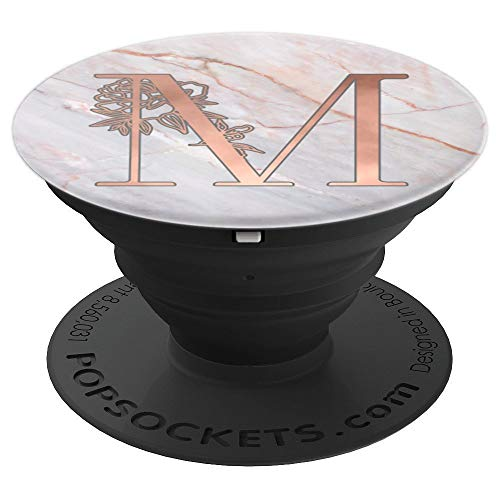 Rose Pink Letter M First Initial Monogram AAN118 - PopSockets Grip and Stand for Phones and Tablets