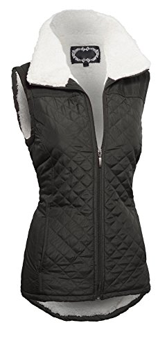 Women's Zip Up Quilted Lightweight Puffer Vest with Pockets and (Black Diamond Hi Light)