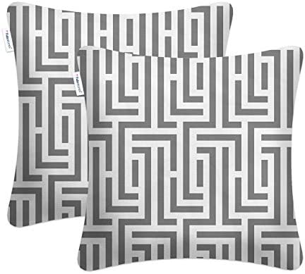 Fabritones Decorative Indoor Outdoor Accent Pillows and Insert 2 Packs 18×18 Inch Throw Pillow with Insert Grey Square Maze Pattern Patio Cushion