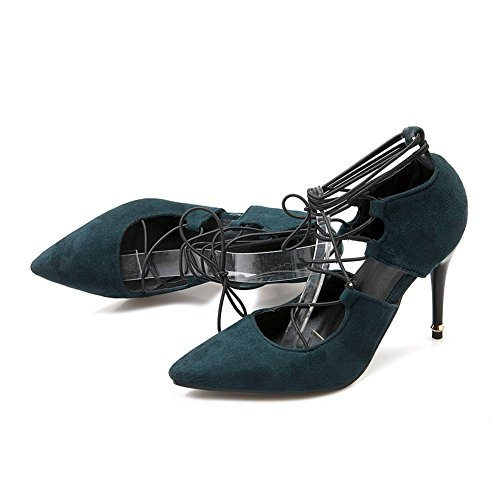 Adee Girls Romanesque Lace-Up Closure High-Heels Polyurethane Pumps Shoes Darkgreen orRDms2