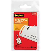 Scotch Thermal Laminating Pouches ID Badge With Clip, 2.4 Inches x 4.2 Inches, 10 Pouches, 6 Pack  (TP5852-10)
