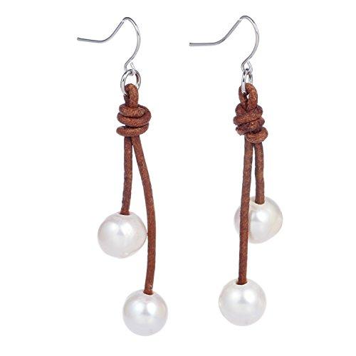 Bonnie S925 Silver Hook Pearl Dangle Drop 2 Strand Leather Handmade Earring (Light Brown) ()