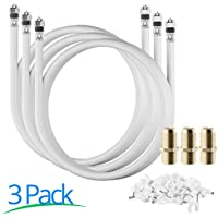 RG-6 | 6 Ft | White | 3 Pack | UL CL2 Certified Cable Quad Shielded Coaxial Cable For Satellite TV & High Speed Internet + Digital Video Cables. …
