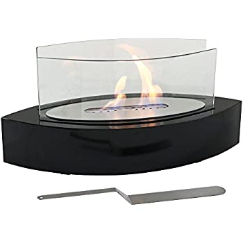 Sunnydaze Barco Ventless Tabletop Bio Ethanol Fireplace, Black