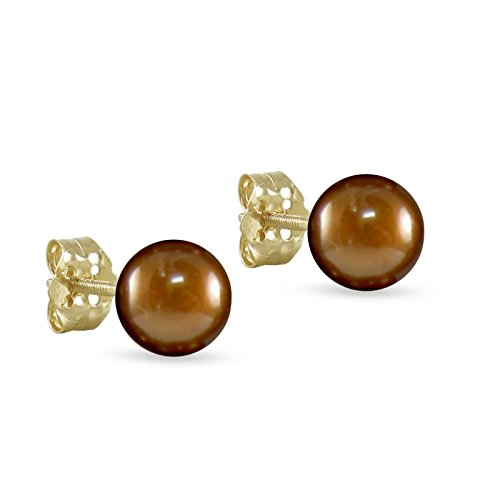 Freshwater Cultured Pearl Button Stud Earrings 10K Yellow Gold 8 - 8.5mm Chocolate Brown