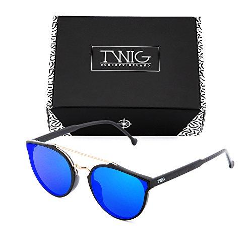 Azul sol hombre degradadas Gafas TWIG de Negro CARTESIO mujer espejo zx55T1wpq