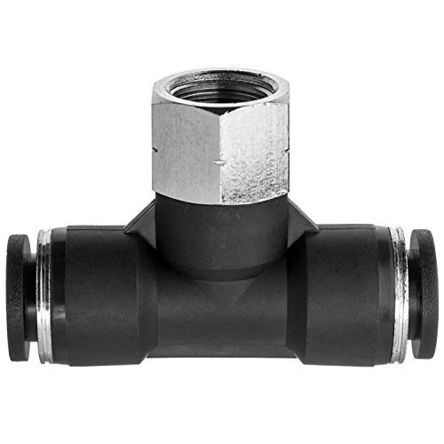 "USA Sealing Push to Connect Tube Fitting - Nylon Plastic - Tee Adapter - 3/8"" Tube OD x 1/4"" NPT Female"