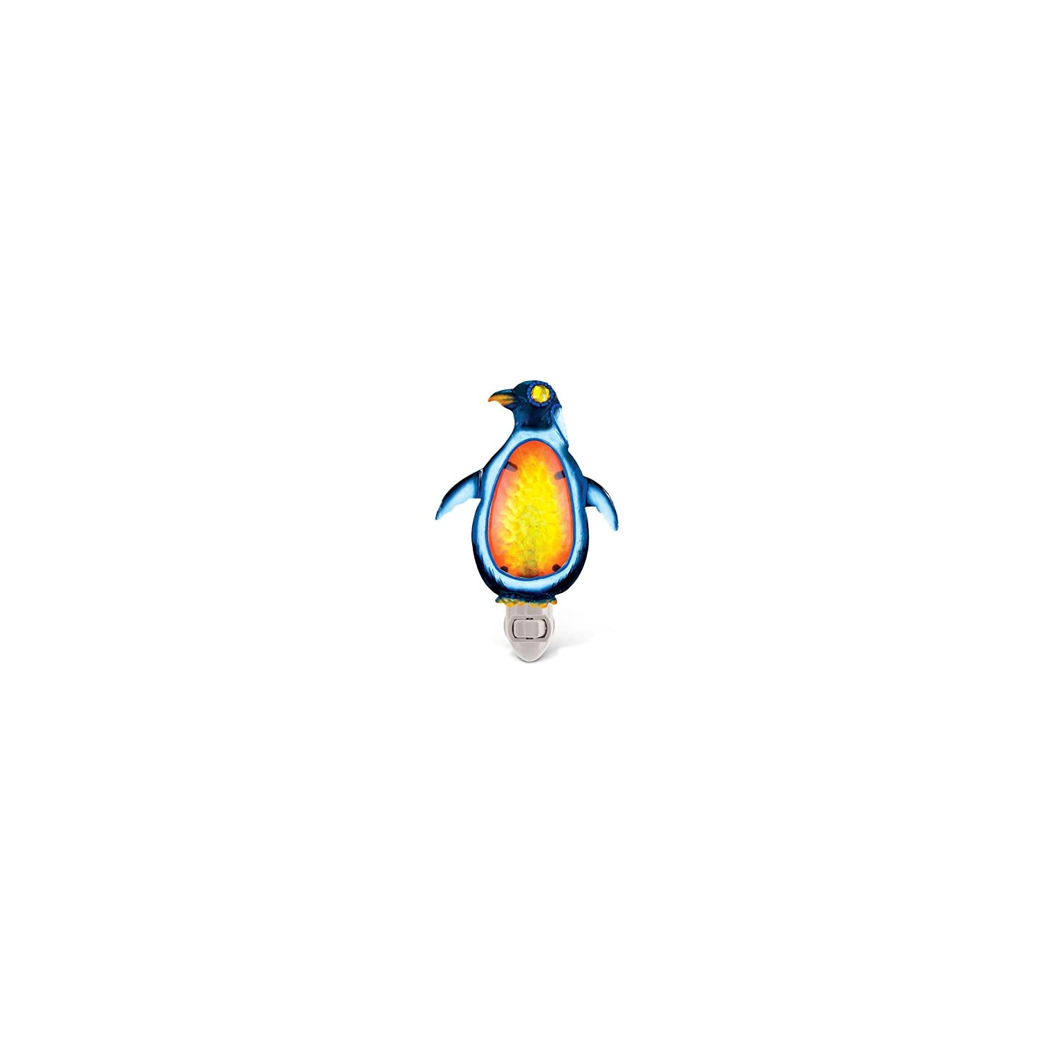 Puzzled Glass Art LED Night Light, Energy Efficient Plug in Decorative Socket Lamp, Manual On & Off Portable Light for Stairway, Bedroom, Bathroom, Nursery, Home Accessory & Kitchen Decor – Penguin