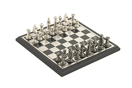 Chess Aluminum (Deco 79 28489 Aluminum & Wood Chess Set)