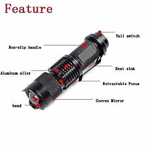 BESTSUN Blacklight Flashlight, Mini UV Ultra Violet LED Torch,Portable High Power Blacklight Detector for Dog Urine, Pet Stains and Bed Bug, Zoomable 3 Mode Ultraviolet Flashlight AA Battery