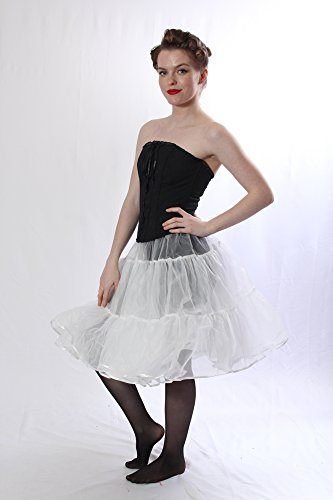 Petticoat Crinoline. Perfect Petticoat Skirt for Vintage Dresses, Petticoat Dresses, Poodle Skirts as Rockabilly Adult Tutu Skirt. Tulle Fabric; 22' Length - White Petticoat by BellaSous