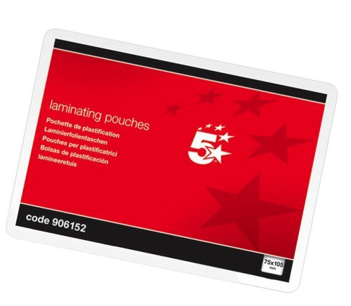 5 Star Office Laminating Pouches 250 Micron for A7 [75x105mm] Glossy [Pack 100]