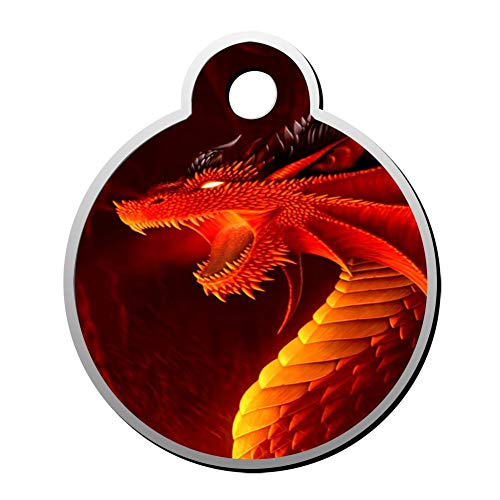 Qeksow Customizable Round Shape ID Tags, Fantasy Red Dragon Personalized Double Sided Printed Pet Information Collar for Cat Dog