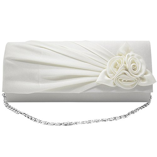 Wedding Clutch Satin Ladies White Wocharm Rose Bag Bridal With Handbag Prom Women Party Evening qtfExHRw8
