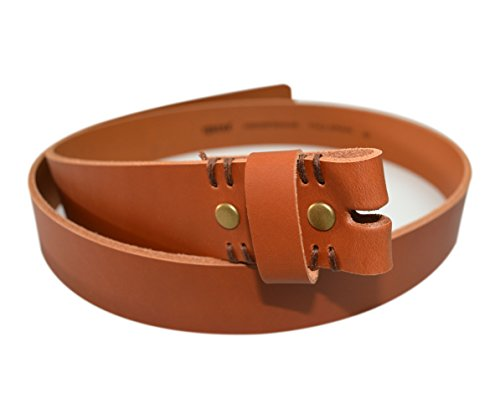 LS38S - Toneka Snap on Tan and Camel Genuine Cowhide Full Grain Leather Strap Fits 38mm Belt (40, Tan)