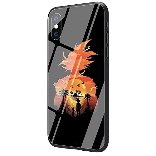 DAVIDLING Phone Case iPhone 7 Plus/8 Plus, Tempered Glass Back Cover and Soft Silicone Rubber Bumper Frame for Scratch-Resistant and Shock Absorption AM-107 Dragon Ball Z Goku (Dragon Ball Z I Phone 5s Case)