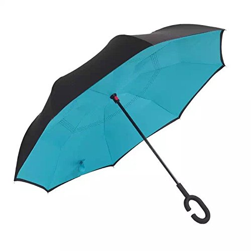 Unboun Modern Upside Down Reverse Umbrella C-Handle Double Layer Inside-Out Colors (Insideout Patio Furniture)