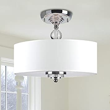 Saint Mossi Modern Deckenleuchte Deckenlampe Kristall Dekoration Weiss Stoff Lampenschirm Wohnzimmerleuchte Schlafzimmerleuchte Innenleuchte Durchmesser