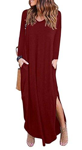 Womens Abito Scollo Vino Lungo Maxi Rosso Maniche Lungo Tasca Lato A Pianura Diviso Elegante V Jaycargogo dqp7wad