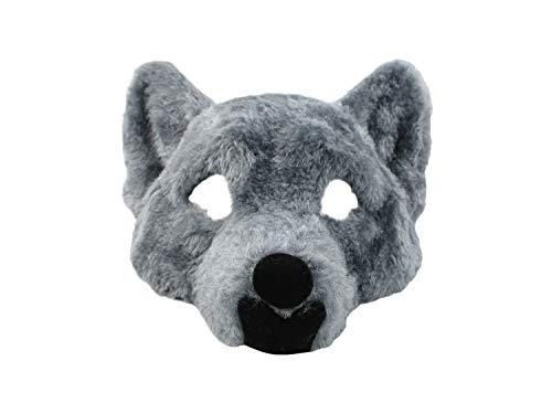 Adult Big Bad Wolf Plush Half Face Mask Animal Halloween Costume Accessory