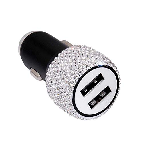 Dual USB Car Charger 3D Bling Diamond Rhinestone Handmade Designed for Apple&Android Devices,car Charger Bling Accessories for Women&Girl - Player Chargers Ladies