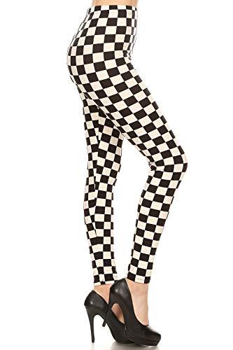 2 Tone Ska Black and White Checkered Leggings up to 3XL