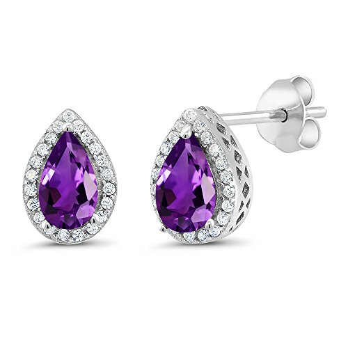 Gem Stone King Sterling Silver Purple Amethyst Earrings 2.50 Cttw Gemstone Birthstone Pear Shape 8X5MM