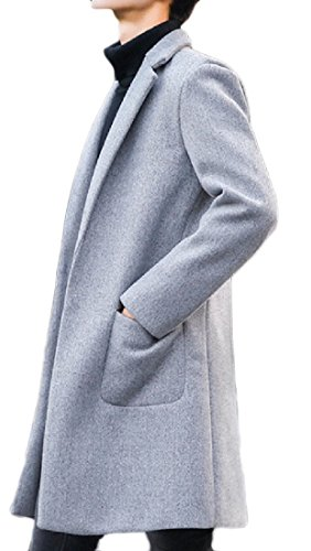 Coolred Mens Winter Trench Coat Long Sections Plus Size Peacoats Grey XL