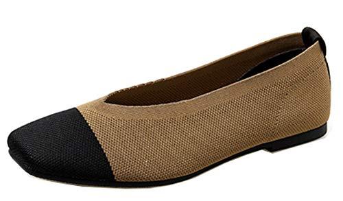 Carré Cap Toe Employée Brun Ballerines Basse Original Femme Easemax Bout Multicolore ftqX7wxIx