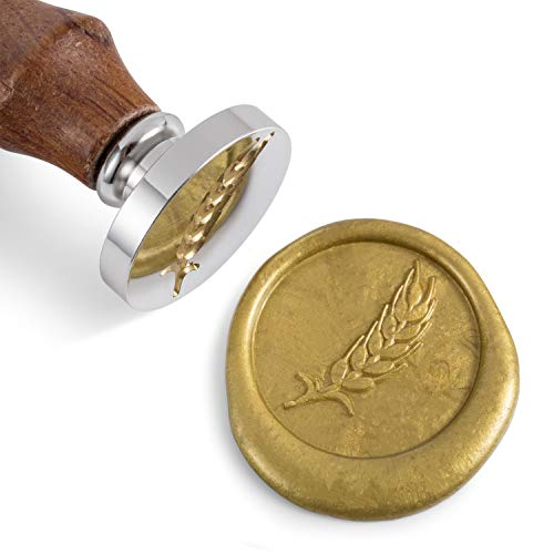 - Mceal Wax Seal Stamp, Silver Brass Head with Wooden Handle, Wheat Bumber Harvest