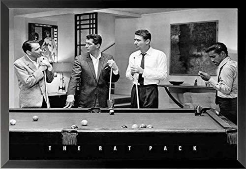 (Buyartforless Framed The Rat Pack Playing Pool Photograph 36x24 Music Art Print Poster)