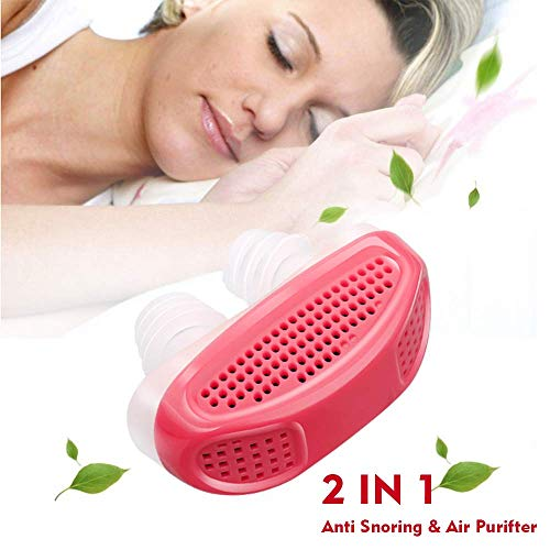 (2 in 1 Soft Anti Snoring Device and Air Purifier -Sleep Device Prevent Snoring Clip Breathing Sleep Nose Care Filters- Snoring Solution Nasal Dilator for Breathing (Red))