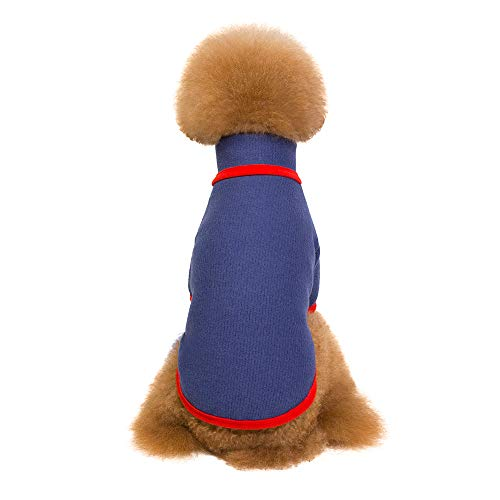 (Lookvv Fashion Dog Clothes Knitwear Pet Sweater Soft Warm Pup Dogs Shirt Winter Puppy Sweater for Dogs Blue)