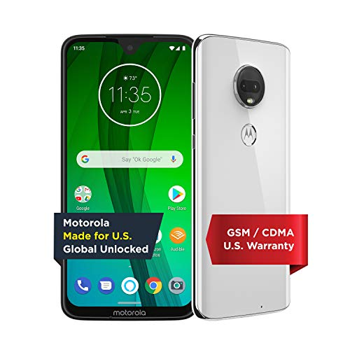 Moto G7 with Alexa Hands-Free - Unlocked - 64 GB - Clear White (US Warranty) - Verizon, AT&T, T-Mobile, Sprint, Boost, Cricket, & Metro