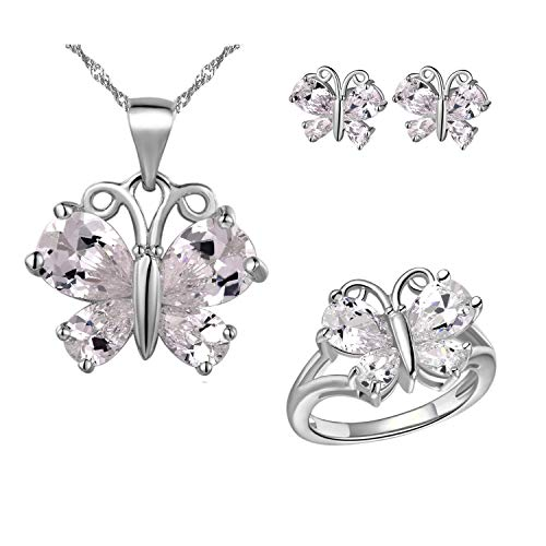 Uloveido Fashion White Gold Plated Charm White Butterfly Earrings Necklace Pendant and Charm Anniversary Rings Jewelry Set for Bridal Women T237
