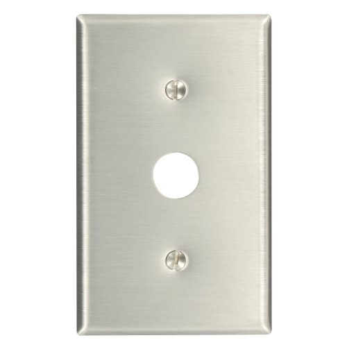 Leviton 84037-40 1-Gang .625-Inch Hole Device Telephone/Cable Wallplate, Strap Mount, Stainless Steel