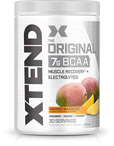 Scivation Xtend BCAA Powder, 7g BCAAs, Branched Chain Amino Acids, Keto Friendly, Mango Madness, 30 -