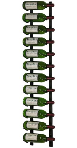 VintageView 12 Bottle Wall Mounted Metal Wine Rack (1 Deep - Black)