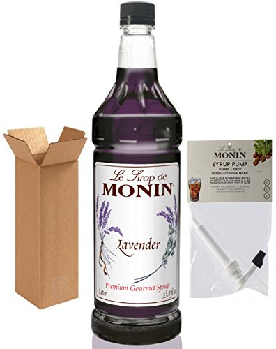 Monin Lavender Syrup, 33.8-Ounce Plastic Bottle (1 Liter) with Monin Pump, Boxed. (Monin Sweetener)