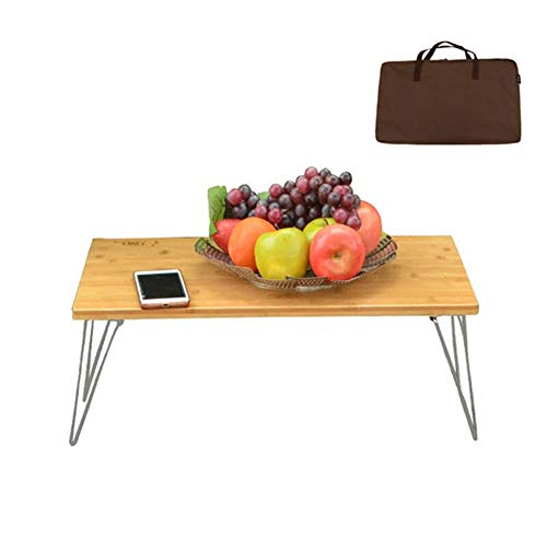 HFM Mesa de camping plegable al aire libre, mesa de picnic portatil, mesa de comedor de bambu con bolsa para jardin BBQ Party