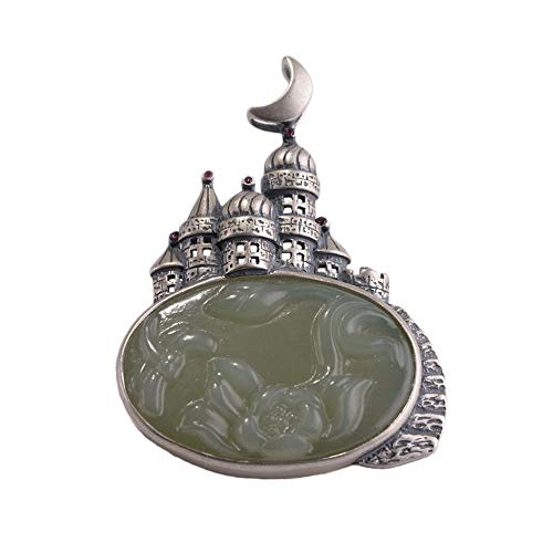Vintage S925 Silver Necklace Women's Men's Simple Ethnic Style Dream Castle Jade Lotus Brooch Pendant Fashion Creative Gift Personality Trend
